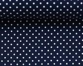 Cotton, dark blue dotted, dots 2 mm