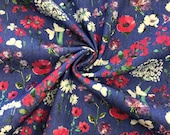 Jeans, blue with flowers and butterflies in pink white