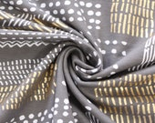 Jersey, grey, white, gold metallic, dots and strokes