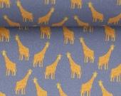 Cotton, smoke blue, giraffes