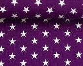 Cotton, violet, white stars, 1 cm