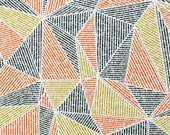 Jersey, Interlock, Julius, white, geometric pattern, triangles, mustard, rust, black