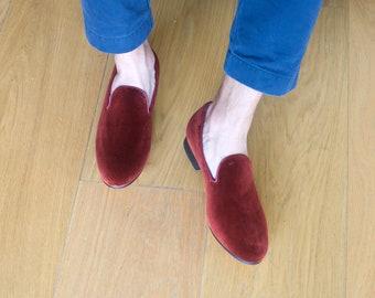 4505500eeef41 Mens Burgundy Velvet Loafers, Burgundy Slippers, Velvet Slipper Loafers,  Grooms Shoes, Mens Velvet Loafers, Couples Gift, Mens Velvet Shoes