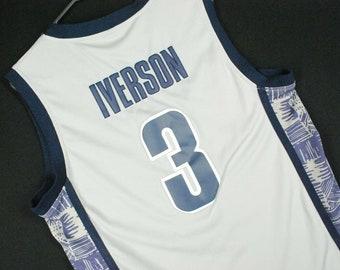3ebf6d1450f Vintage Allen Iverson Georgetown Hoyas Basketball Jersey #3 Gray Nike Mens M