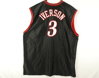 274161764fb Vintage 90s Allen Iverson CHAMPION Basketball Jersey NBA Philadelphia 76ers  Authentic Sewn Stitched Black