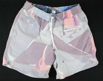 e291506bf2 Vintage Polo Ralph Lauren Sailing Swim Trunks Board Shorts Suit Mens Large