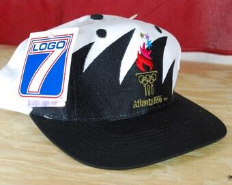 71806ffd118 NWT VTG 90s Atlanta Olympics Sharktooth Hat Snapback Cap Jordan Logo 7  Athletic