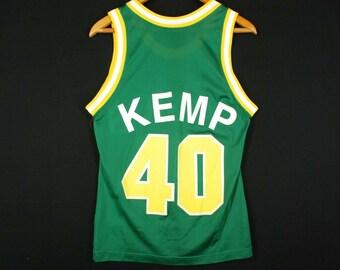 c0b0aac5f57 Vintage 90s Champion Shawn Kemp Jersey NBA Seattle Super Sonics Mens Small  36