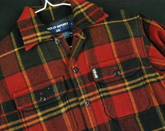 b0b615607 Vintage 90s Polo Sport Ralph Lauren Red Wool Outdoor Plaid Jacket Youth  Boys 7