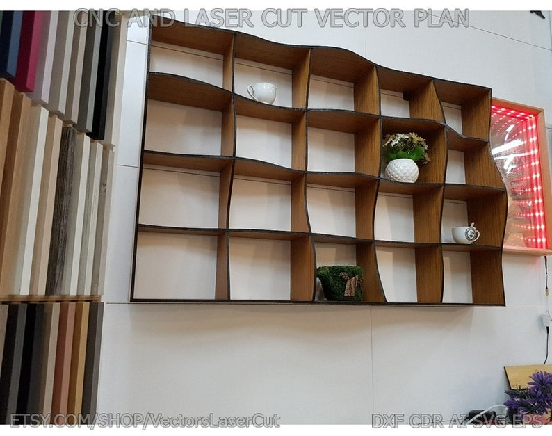 vector project for CNC router and laser cut Vector file for laser cutting plywood Shelf Wave shelves DXF CDR svg ai eps CorelDraw