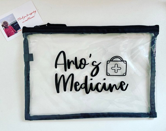 Personalised clear/black medicine zipped bag