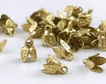3 mm Tiny Bell Caps. Four Petal Bead Top. Beading End Caps With Loop. Flower Shape Cord End. Teeny Vintage Brass Charm. 2-3 mm Beads. 24 Pc