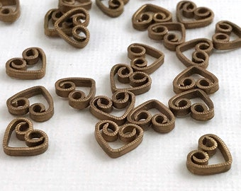 50 Silver Plated Brass Heart Drop Earring Connectors 11x8mm