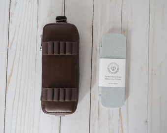 Genuine Leather Watercolor Travel Case Set | Travel Palette | Thin Palette  | Large Mixing Well | Fits in our Pencil Case