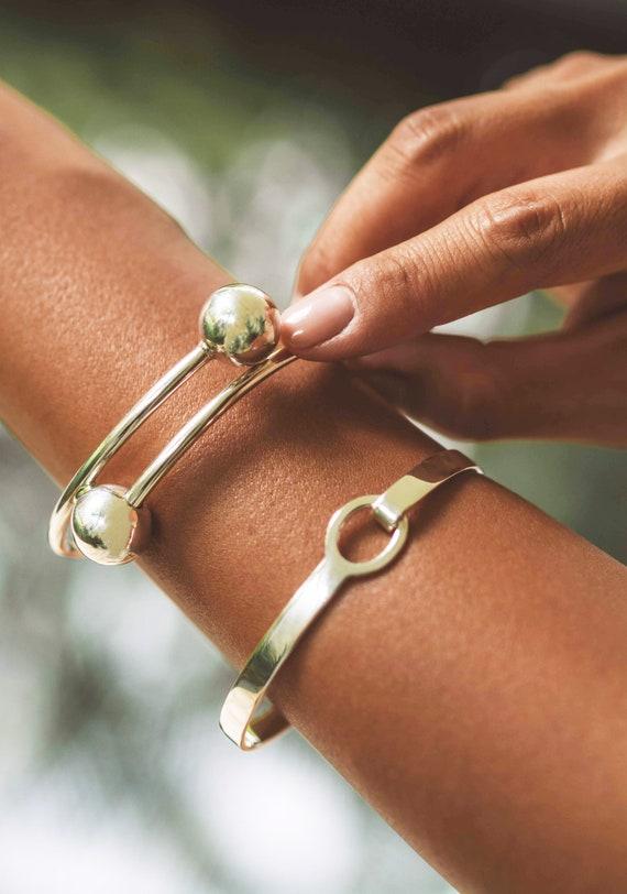 Cuff Bracelet Sterling Silver Bangle Ball End Bracelet Geometric Jewelry Open Bangle Bracelet Statement Jewelry Double Ball Bracelet