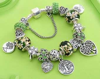 006b1eec9 Doris Dai Green Tree of Life Charm Pandora Bracelet Silver Color Heart  Flower Bead Bracelets & Bangles