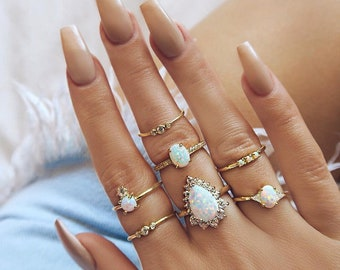 3088cce9d Doris Dai 7PCS/Set White Color Stone Rings Set for Women Gold Wave Crystal  Boho Midi Carved Geometric Knuckle Fashion Jewelry
