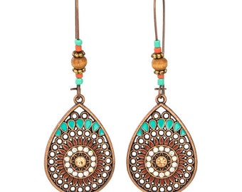 d348eb7bc Doris Dai Vintage Boho India Ethnic Water Drip Hanging Dangle Drop Earrings  for Women Female New Wedding Party Jewelry