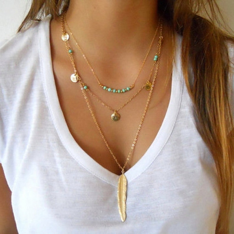 Doris Dai Multilayer Coin Tassels Lariat Bar Necklaces Beads Choker Feather Pendants Necklaces For Women