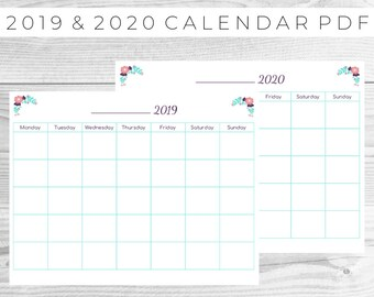 Blank calendar pdf | Etsy