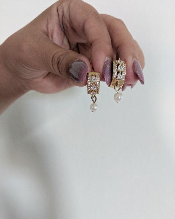 small-cubic-zirconia-huggie-hoop-earrings,-pearl-earrings by etsy