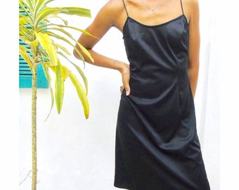 aa9aa5fe9494 90s Vintage Black Slip Dress / Jamaica