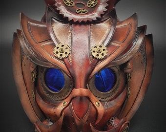 Fancy Dress pagan gift bird rainbow the green man Full Size Handmade Leather Owl Mask oddity Goth Macabre Steampunk tree