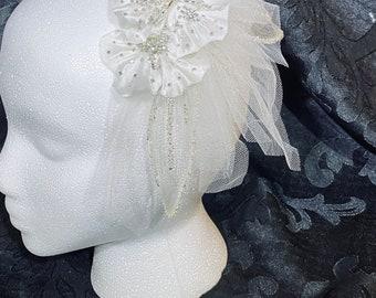 Shayna/'s  organza flower birdcage veil