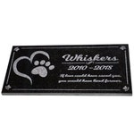 Customized Pet Memorial / Garden Marker with Unique Dog Cat Paw Graphic - Made of Black Granite and Engraved with Pet Name Dates
