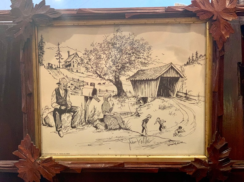 Tramp Art FREE SHIPPING Hobo Art with Signed Sketched Print by John Kollock