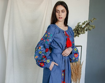 ukrainian embroidered dress voluminous balloon sleeve short kaftan boho chic bohemian caftan authentic wear slav dark blue vyshyvanka dress
