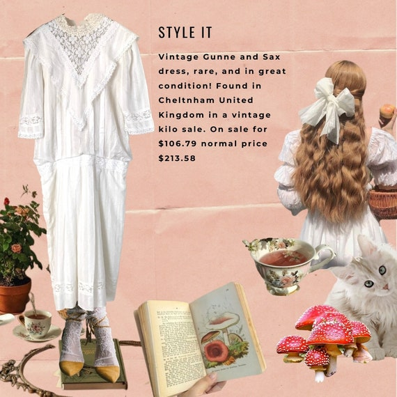 Vintage 1970s Gunne Sax white dress
