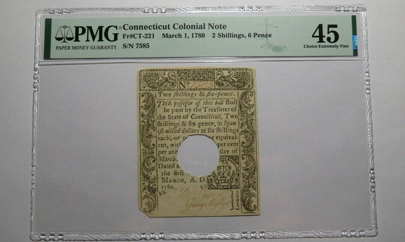 1780 2 Shillings 6 Pence Connecticut CT Colonial Currency Note Bill PMG XF45
