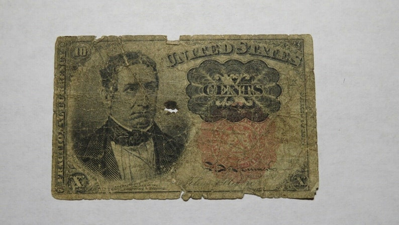 1874 .10 Fifth Issue Fractional Currency Obsolete Bank Note Bill USA
