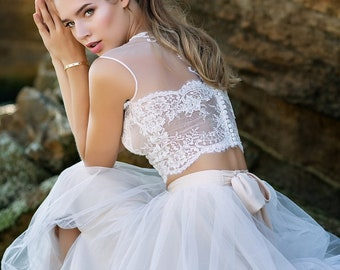 Two piece wedding dress, Lace wedding top, Tulle wedding dress, Bohemian wedding dress