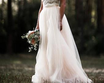 Wedding tulle skirt women, Bridal skirt, Soft tulle skirt, Ivory tulle skirt with train