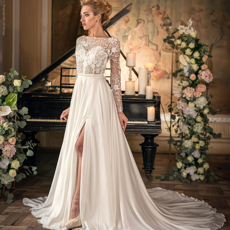Long sleeve wedding dress,Lace wedding dress,Boho wedding dress,Ball gown,White wedding dress,Fairy wedding dress tulle ,Princess wedding, FairyFayRemeziuk, Etsy