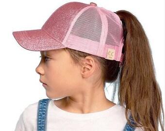 b37df4546 Kids ponytail hat   Etsy