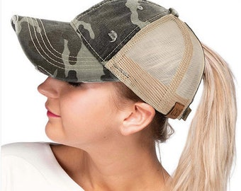 7dbc5069 Camo High Ponytail Hat, Camouflage Messy Bun Hat, Camouflage high ponytail  hat