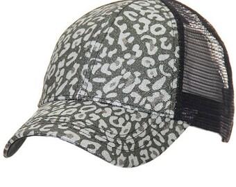 b6eaabc499b43 Leopard Glitter Ponytail Hat
