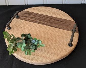 Round Walnut & Red Oak Platter with Handles