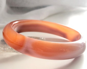 Chalcedony Bangle Bracelet 60MM Certificated Ice Translucent Orange Gradient Agate Bangle Thin Jingle Bangle Carved Unique Gift for Her