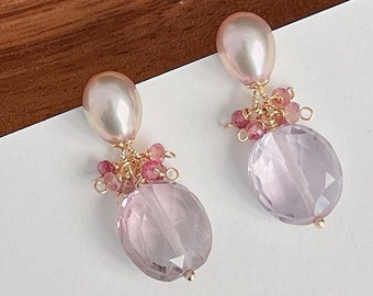 Pink Amethyst & Natural Pearl Cluster Drop Earrings