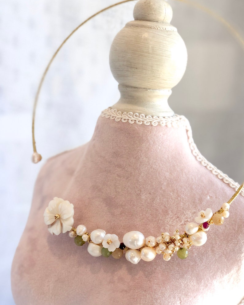 byJTSjewelry Pearl Chocker \u15f7\u14aaOO\u15f0I\u144eG \u15b4\u14aaO\u15efE\u1587\u1515 Shell Flowers Collar Necklace with Pearls June Birthstone Birthstone Necklace for Her