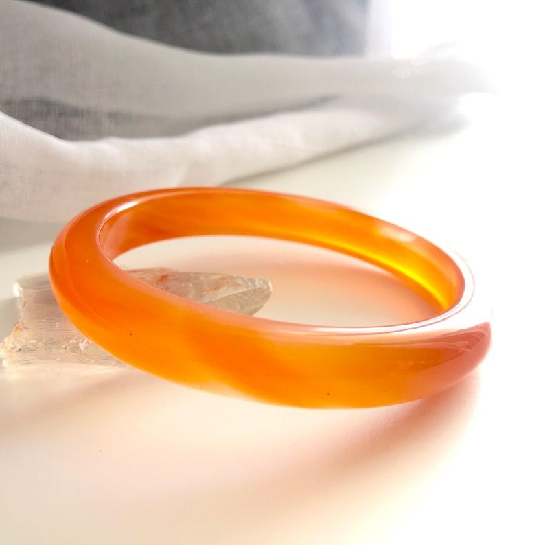 byJTSjewelry \u1455O\u14aaO\u144c\u1587\u15b4\u144c\u14aa \u15efO\u1587\u14aa\u15ea #A135 Orange Colour Lace Agate Bangle Lace Agate Chalcedony Bangle Orange Agate Agate Bangle for Her