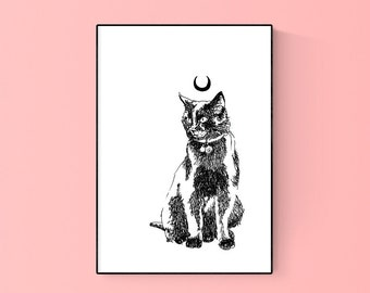 Moon Cat Modern Line Art SVG Printable Art Digital Download Art Print Commercial License
