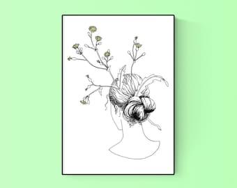 Dandelion Sow Thistle Floral Portrait Messy Bun SVG Printable Art Clip Art Commercial License