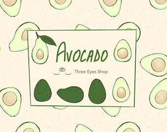 Avocado SVG Clip Art and Seamless Pattern, Line Art and Color Bundle Commercial License