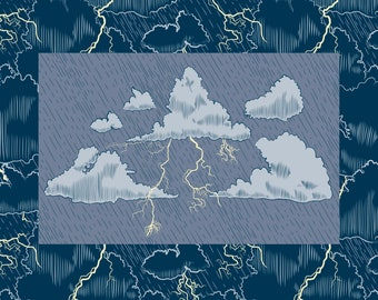 Storm Clouds Lightning and Rain SVG Clip Art and Seamless Pattern, Line Art and Color Bundle Commercial License
