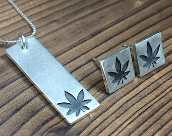 Ganja Leaf Pendant and Earring set - Brushed finish